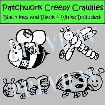 Cute Creepy Crawlies- Insects Bug and Reptile Clip Art with Patchwork Detail