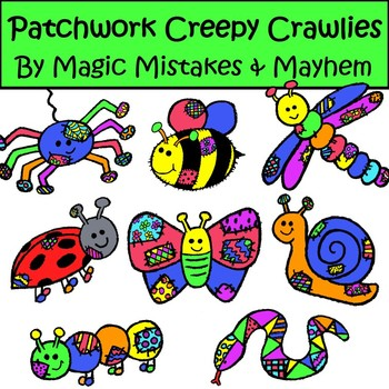 Cute Creepy Crawlies- Insects Bug and Reptile Clip Art wit