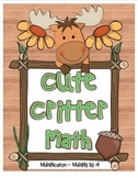 """Cute Critter Math"" Multiply 4 Common Core Multiplication Fun! (color&blackline)"