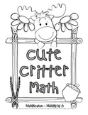 """Cute Critter Math"" Multiply 6 - Common Core - Multiplication Fun! (black line)"