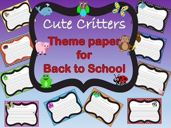 Cute Critter Themed Paper for Back to School