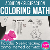 Cute Critters: Coloring Sheets for Addition and Subtraction Practice