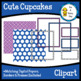 Cute Cupcakes Clipart-with digital papers, borders & frames