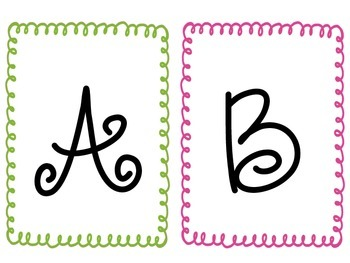 Cute Curly Framed Word Wall Letters