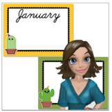 Cute Cursive Cactus / Succulent Birthday Calendar