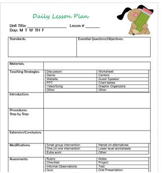 Cute Daily Lesson Plan!