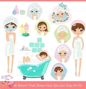 Cute Dark Brown Hair Brunette Spa Girl Clipart Set