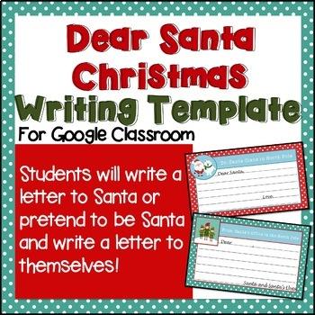 "Cute ""Dear Santa"" Digital Writing Template for Google Classroom"