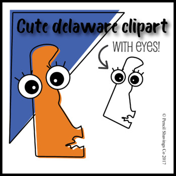 Cute Delaware Clipart with Eyes!