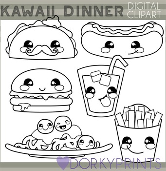 Cute Dinner Food Blackline Clipart