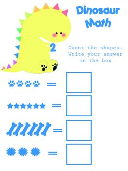 Cute Dinosaur Add the Shapes Math Sheet