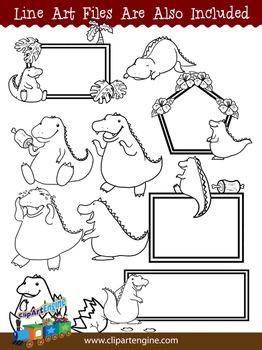 Cute Dinosaur Clip Art Collection