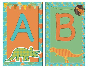 Cute Dinosaur Themed Decor  - bunting, lime, orange, teal, yellow