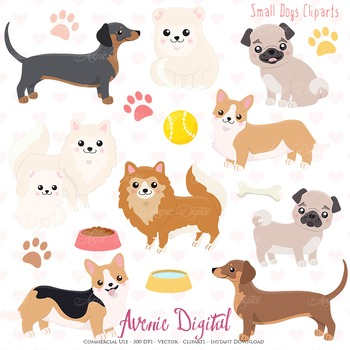 Cute Dog Clipart. Scrapbook printables, Vector and png Puppy clip art set