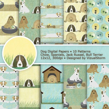 Dog Digital Paper, 10 Neutral Colored Pet Patterns, Cute Printable Dog Designs