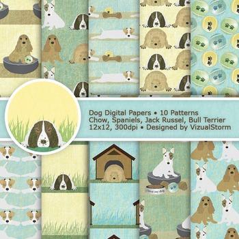 Dog Digital Paper, 10 Neutral Colored Pet Patterns, Cute P