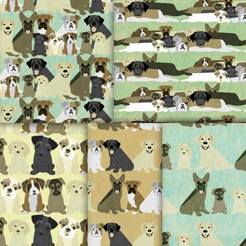 Dog Digital Paper, 10 Cute Pet Patterns, Printable Puppies and Dogs