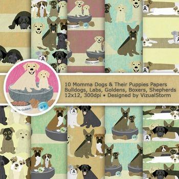 Dog Digital Paper, 10 Cute Pet Patterns, Printable Puppies