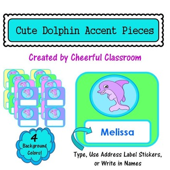 Bulletin Board Accent Pieces - Editable (Cute Dolphin Theme)