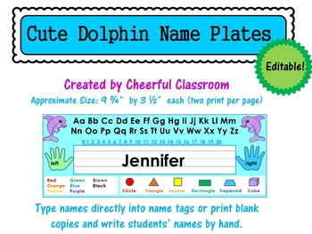 Name Plates / Name Tags - Editable (Cute Dolphin Theme)
