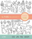 Cute Doodle Fox Clip Art, Fox Graphics, Fox Illustration Set, PNG Line Art