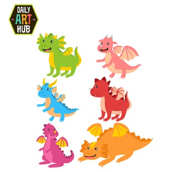 Cute Dragons Clip Art - Great for Art Class Projects!