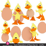 Cute Duck Prepositions of Place Clip Art with BW- Grammar Clipart for ELA, ESL
