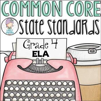 Grade 4 ELA Common Core Standards Checklist for Fourth Grade