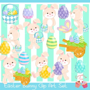 Cute Easter Bunny Clipart Set