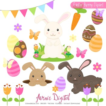 Cute Easter Bunnyl Cliparts - Spring egg hunt clip art