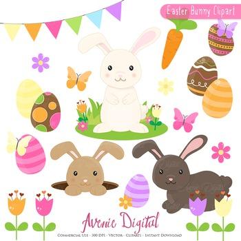Cute Easter Bunnyl Cliparts - Spring egg hunt clip art