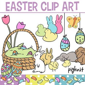 Cute Easter Clip Art   Bunnies, Peeps, Tulips, Easter Basket, Jelly Bean, Chicks