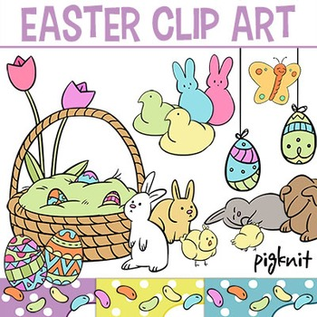 Cute Easter Clip Art | Bunnies, Peeps, Tulips, Easter Basket, Jelly Bean, Chicks