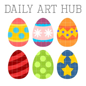 Cute Easter Eggs Clip Art - Great for Art Class Projects!
