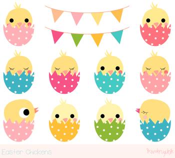 Cute Easter chickens clipart, Kawaii Easter chicks clip art, Easter eggs clipart
