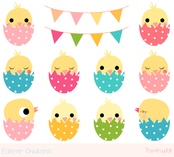 Cute Easter chickens clipart, Kawaii Easter chicks clip ar