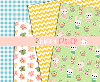 Cute Easter digital paper, Seamless printable digital scrapbook paper pack, Eggs