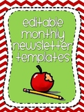 Cute Editable Monthly Newsletter Templates {Chevron-Themed}
