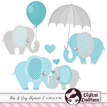 Cute Elephant Clip Art - Blue and Grey