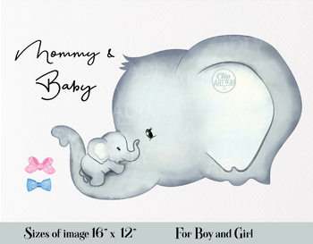 Cute Elephant Mommy And Baby Clipart With Two Bow Ties In Pink And Blue