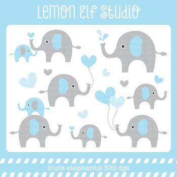 Cute Elephants-Digital Clipart (LES.CL10A)