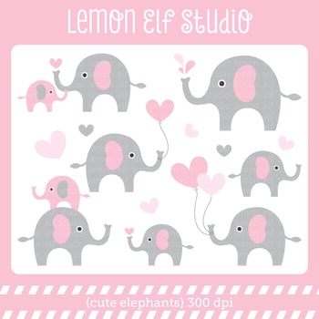 Cute Elephants-Digital Clipart (LES.CL10B)