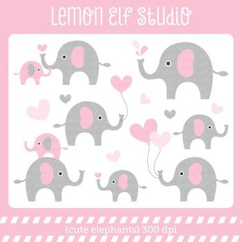 Cute Elephants-Digital Clipart (LES.CL10B)