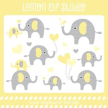 Cute Elephants-Digital Clipart (LES.CL10C)