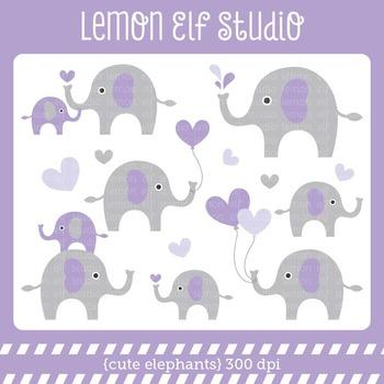 Cute Elephants-Digital Clipart (LES.CL10D)