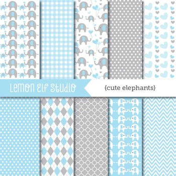 Cute Elephants-Digital Paper (LES.DP10A)