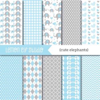 Cute Elephants-Digital Paper (LES.DP10A)