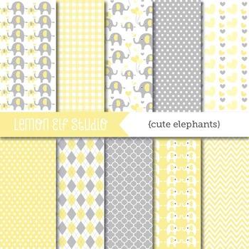 Cute Elephants-Digital Paper (LES.DP10C)