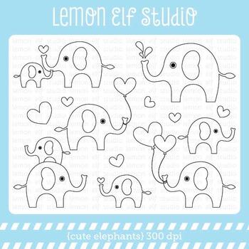 Cute Elephants-Digital Stamp (LES.DS10)