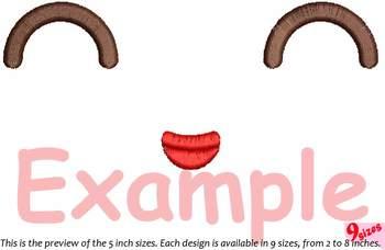 Cute Emoji Embroidery Design emoticons outline Kawaii Expression outline 181b